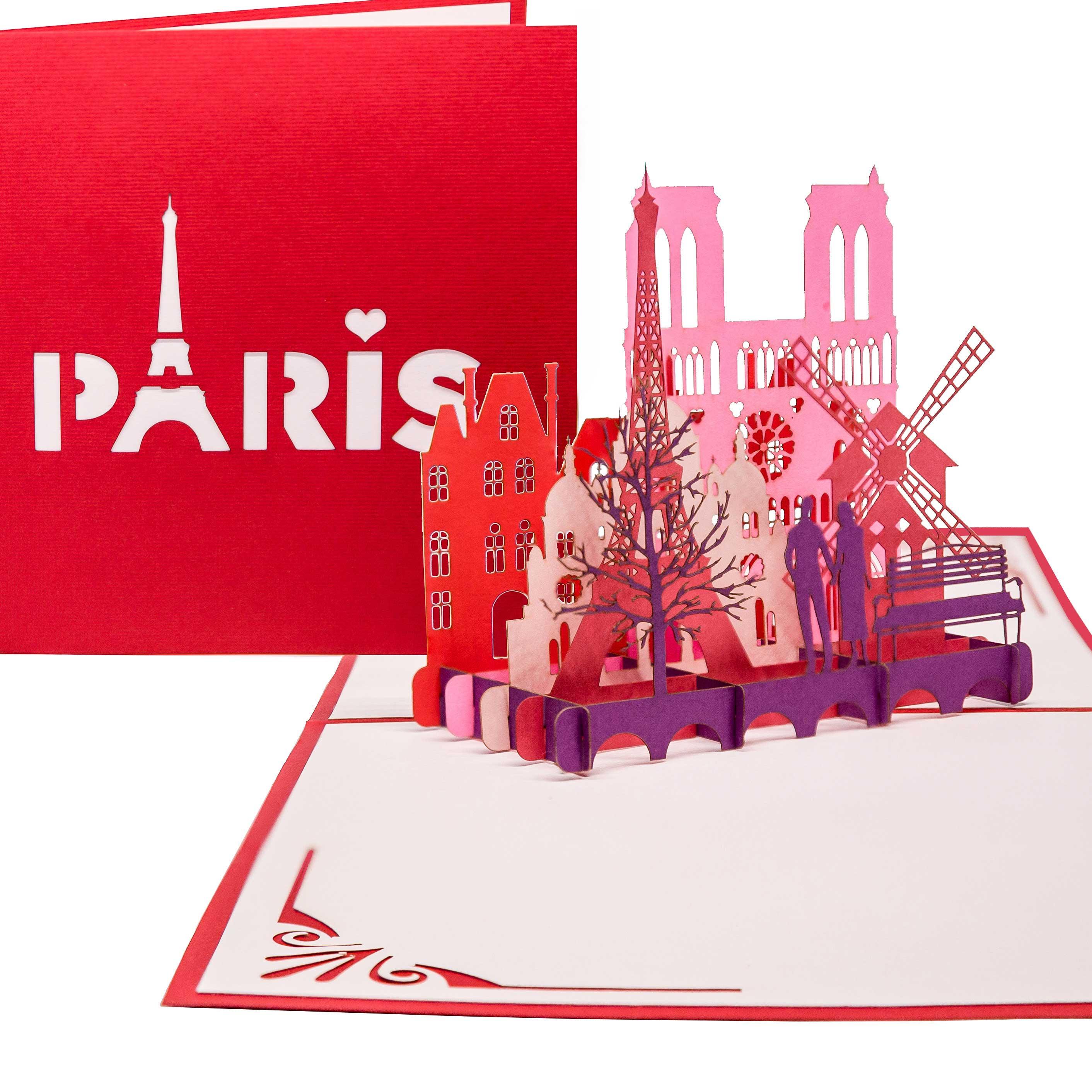 """Pop Up Karte """"Paris"""" - Gutschein für Städtereise, Gutscheinverpackung"""