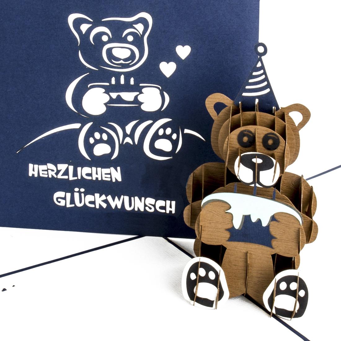 Teddybär & Torte - Blau