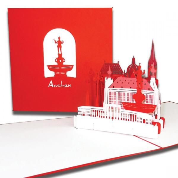 """3D Karte """" Aachen – Skyline mit Aachener Dom"""", Pop-Up Grußkarte als Reisegutschein, Geburtstagskarte"""