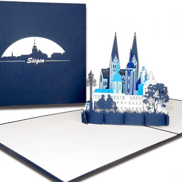 "3D Karte ""Siegen – Stadtpanorama"", Pop-Up Grußkarte als Geschenkgutschein"