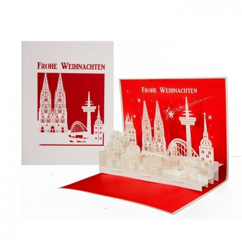 """3D Karte """"Köln Panorama - Frohe Weihnachten"""" - Weihnachtskarte mit Umschlag"""