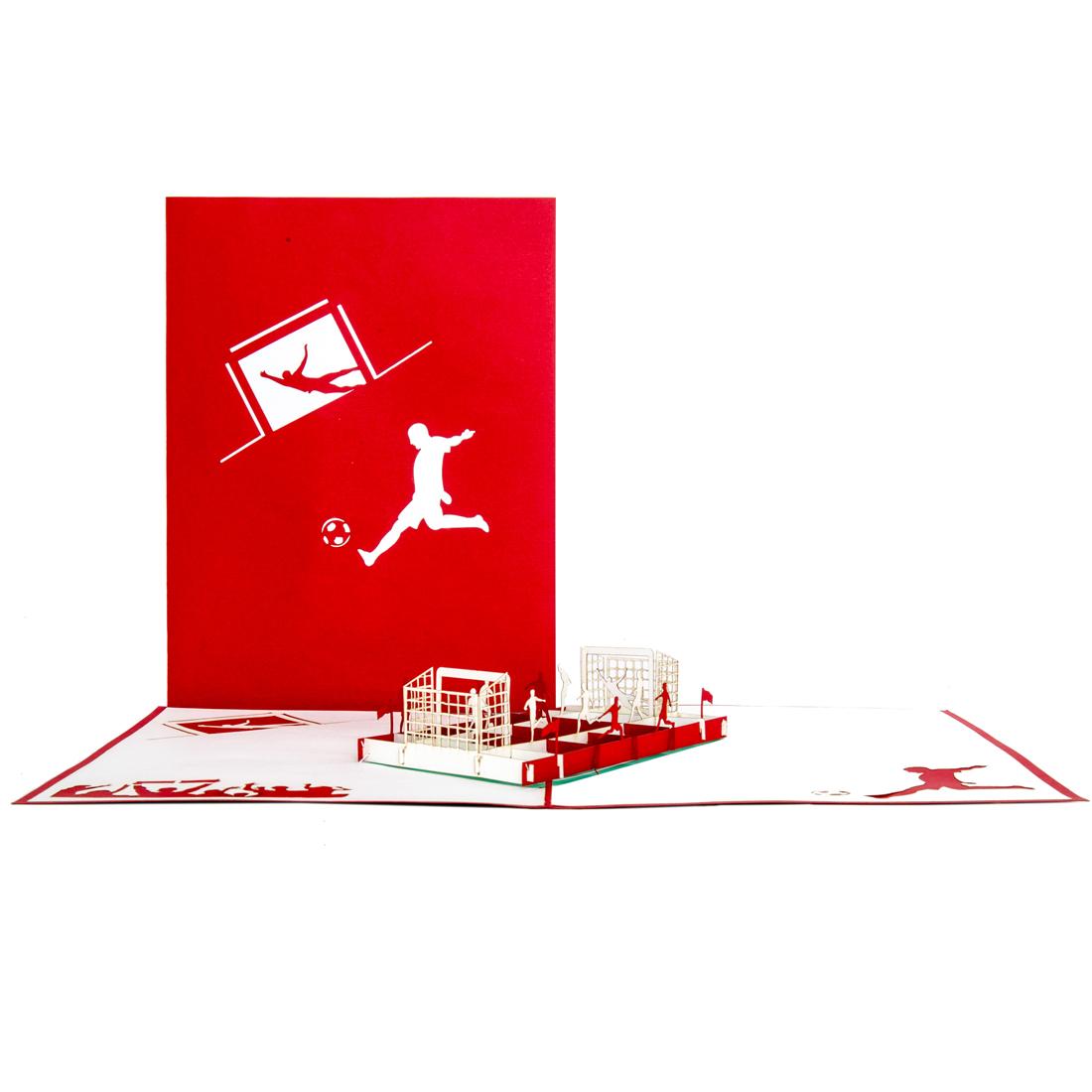 """Pop-Up Karte """"Fußball rot-weiß"""" - Grußkarte, Gutschein für's Stadion"""