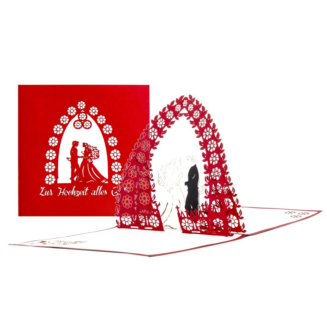 """3D Hochzeitskarte """"Torbogen"""" - Pop Up Glückwunschkarte zur Hochzeit"""