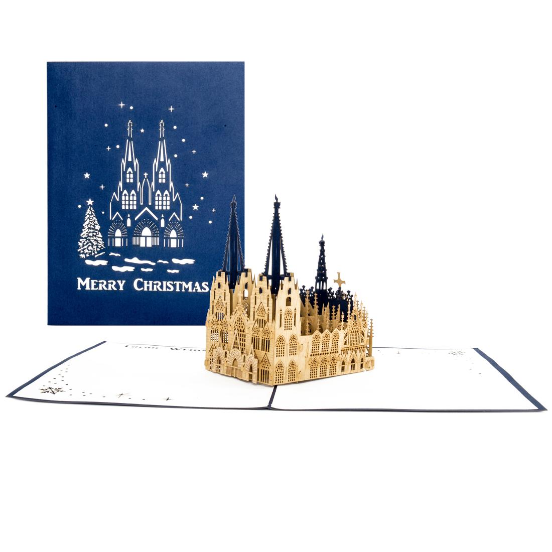 """Pop Up Karte """"Kölner Dom - Merry Christmas"""" - Weihnachtskarte, Geschenkgutschein"""