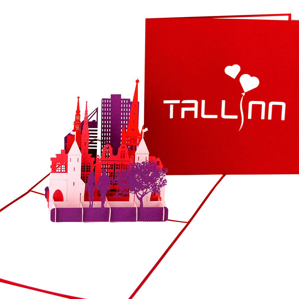"Pop Up Karte ""Tallinn"" - Grußkarte mit Umschlag, 3D Postkarte Estland"