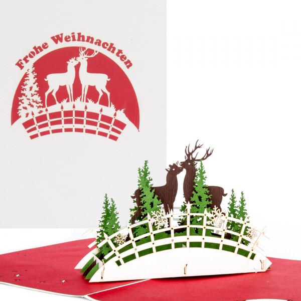 """Romantische Weihnachtskarte mit 3D Pop Up """"Deers in love - Hirsch & Hirschkuh"""""""
