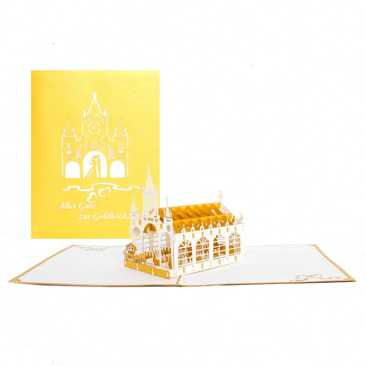 """Pop Up Karte """"Goldene Hochzeit - Kirche"""" - Glückwunsch zur Goldhochzeit"""
