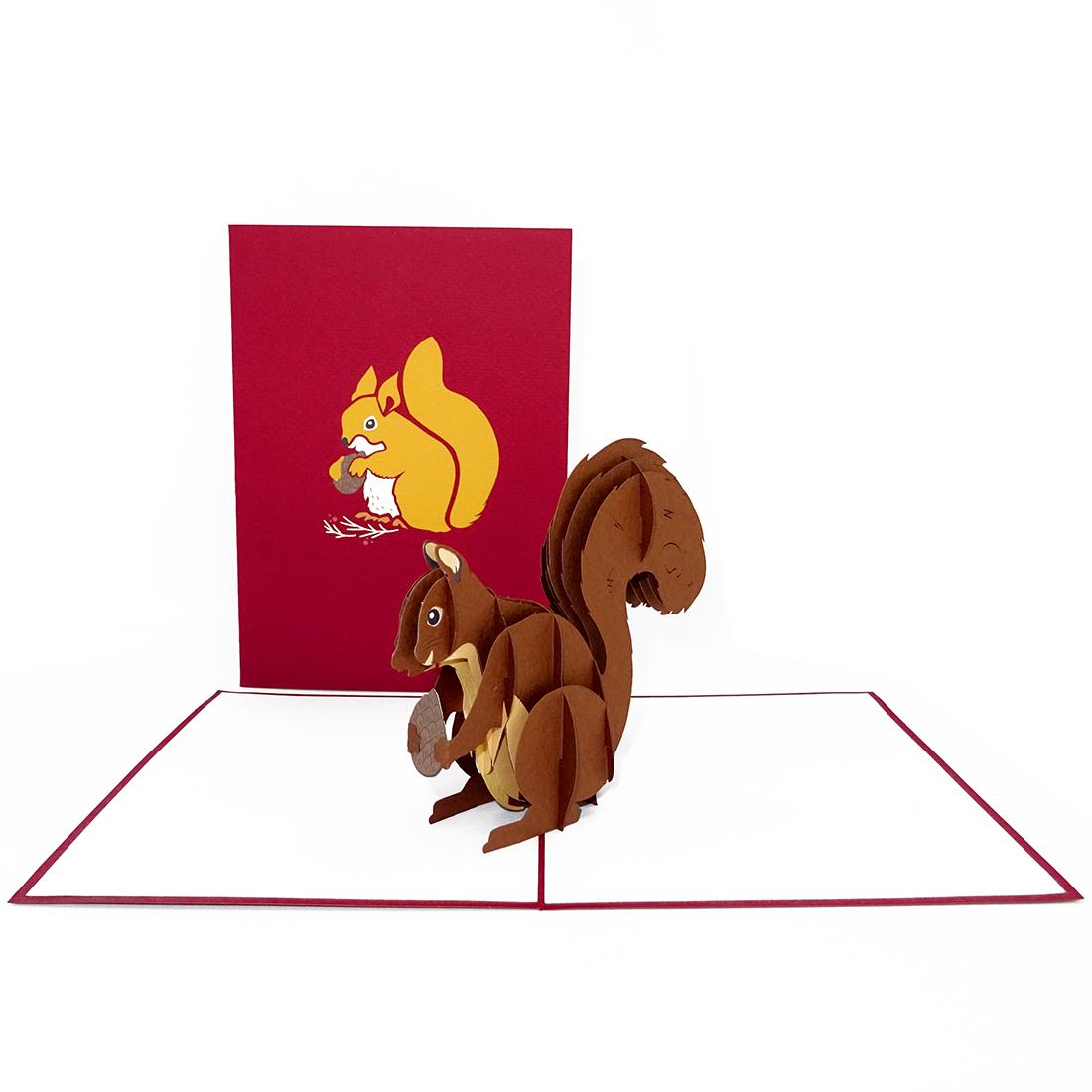 """Pop Up Karte """"Eichhörnchen"""" - Weihnachtskarte, Geburtstagskarte, Grußkarte"""