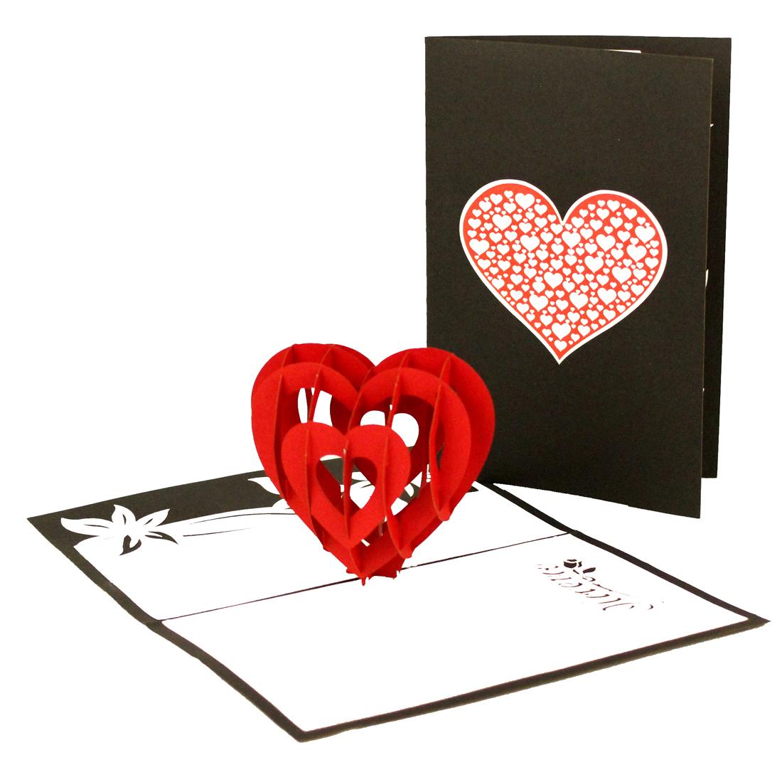 """Pop Up Karte """"""""Rotes Herz - Hochzeitstag, Valentinstagskarte"""