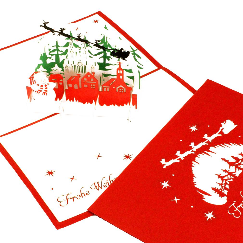 """3D Karte """"Winterlandschaft mit Schneemann"""" - Weihnachtskarte mit Umschlag"""