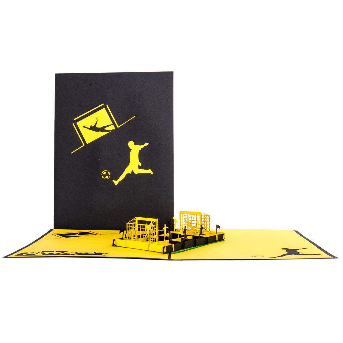 """Pop Up Karte """"Fußball"""" gelb schwarz - Einladungskarte, Grußkarte"""