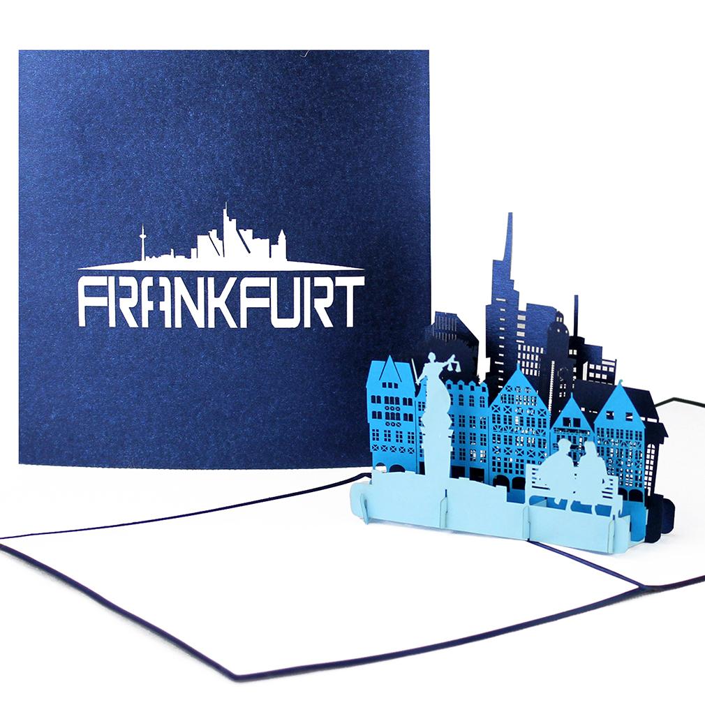 """Pop-Up Karte """"Frankfurt am Main"""" - Glückwunschkarte mit Umschlag, Reisegutschein"""