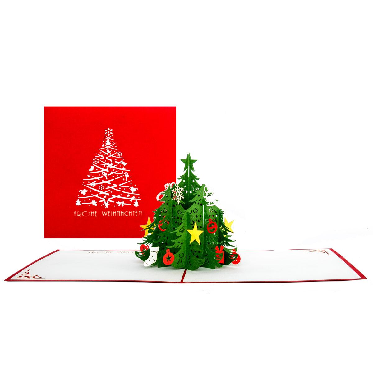 """Pop Up Karte """"Tannenbaum"""" - Weihnachtskarte mit Umschlag und Text """"Fohe Weihnachten"""""""