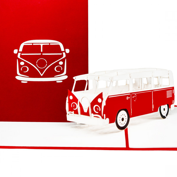 """Pop Up Karte """"Minibus"""" - Glückwunschkarte, Geschenkgutschein"""