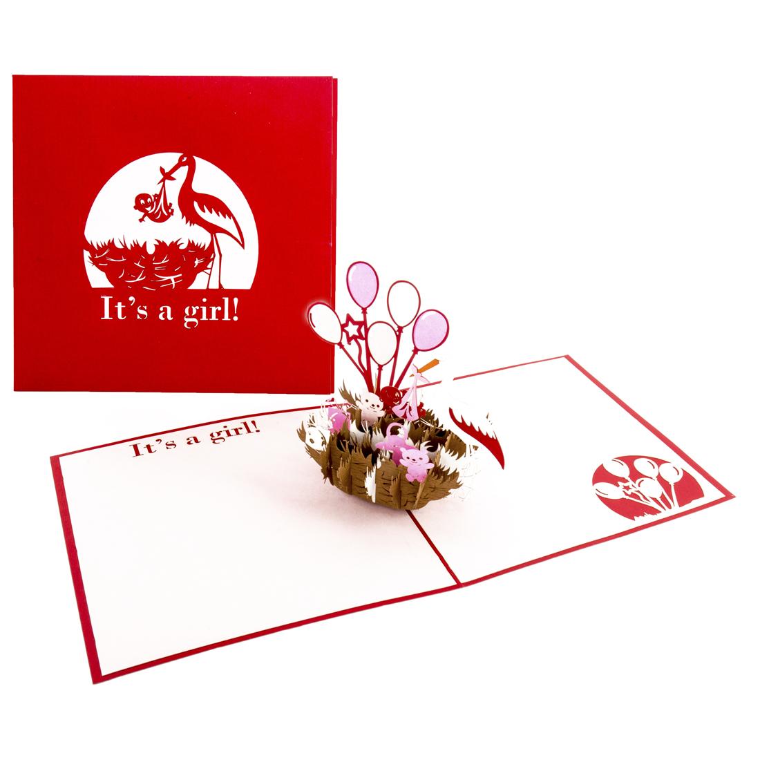 """Pop Up Karte """"It's a girl - Storchennest"""" - Geburtskarte, Glückwunschkarte zur Geburt"""