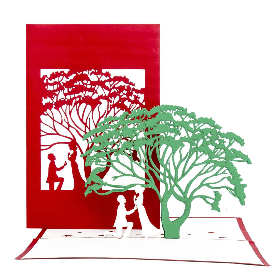 """3D Karte zur Hochzeit """"Der Antrag"""" - Hochzeitskarte, Verlobungskarte"""