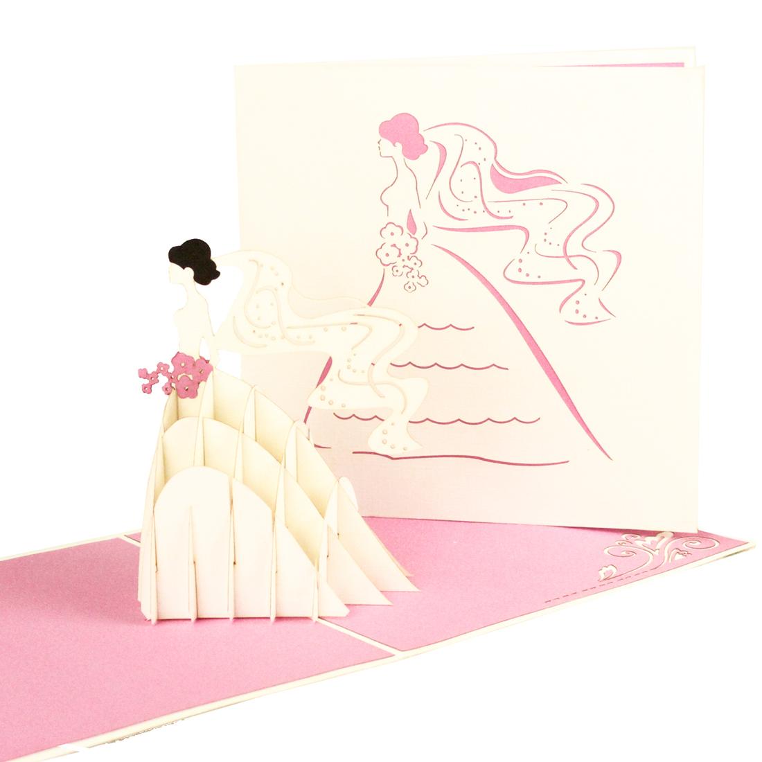 """3D Karte """"Braut & Brautstrauß"""" - Grußkarte zur Hochzeit, Gückwunschkarte"""
