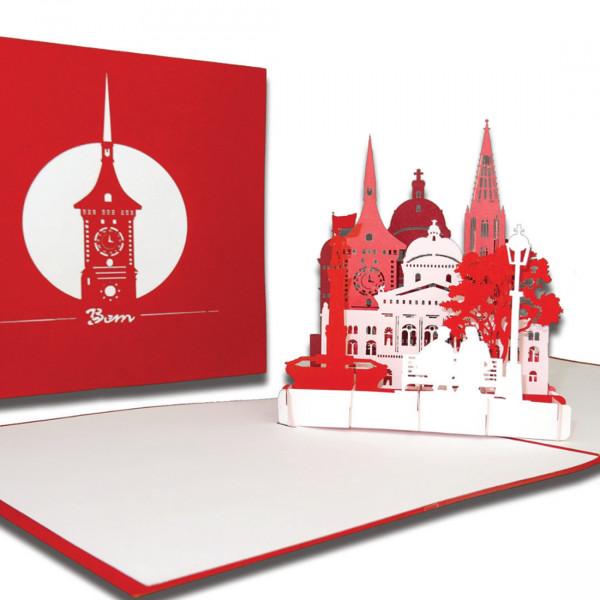 """Pop-Up Karte """"Bern – Skyline mit Berner Münster"""", 3D Grußkarte als Souvenir oder als Reisegutschein"""