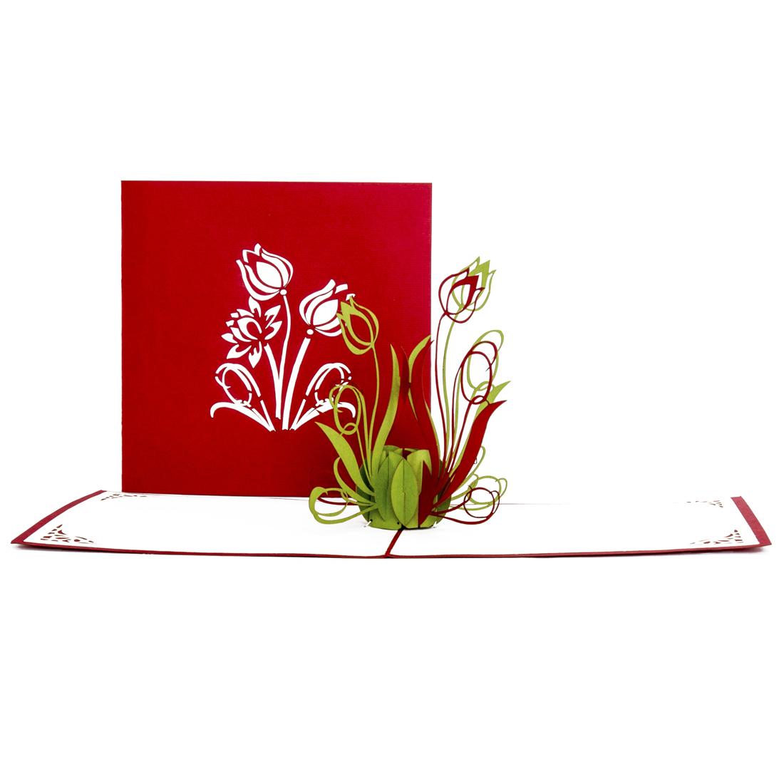 """Pop Up Karte """"Tulpen"""" - Dankeschön-Geschenk, Tulpenkarte"""