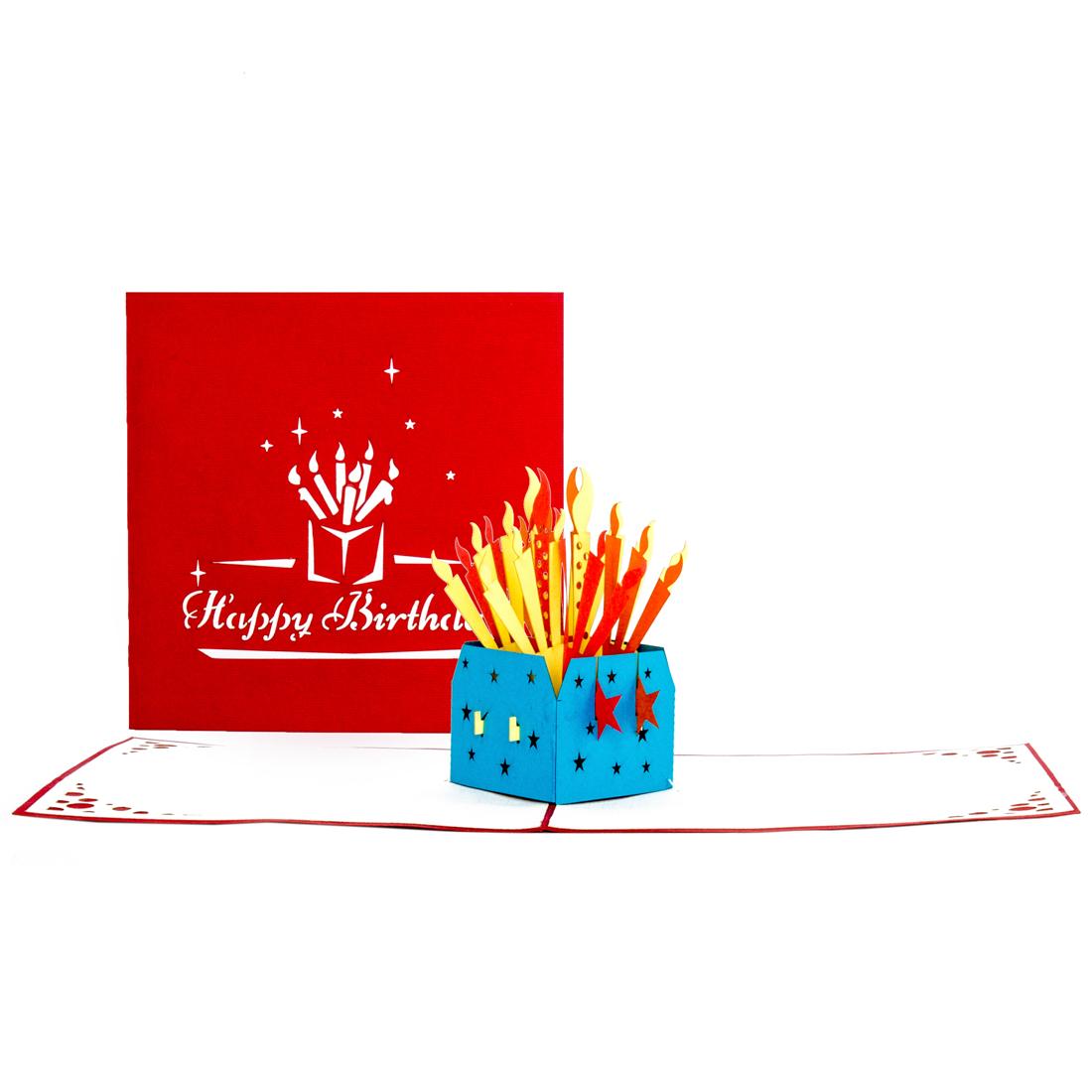 """3D Geburtstagskarte """"Kerzen -""""Happy Birthday"""" - Glückwunschkarte"""