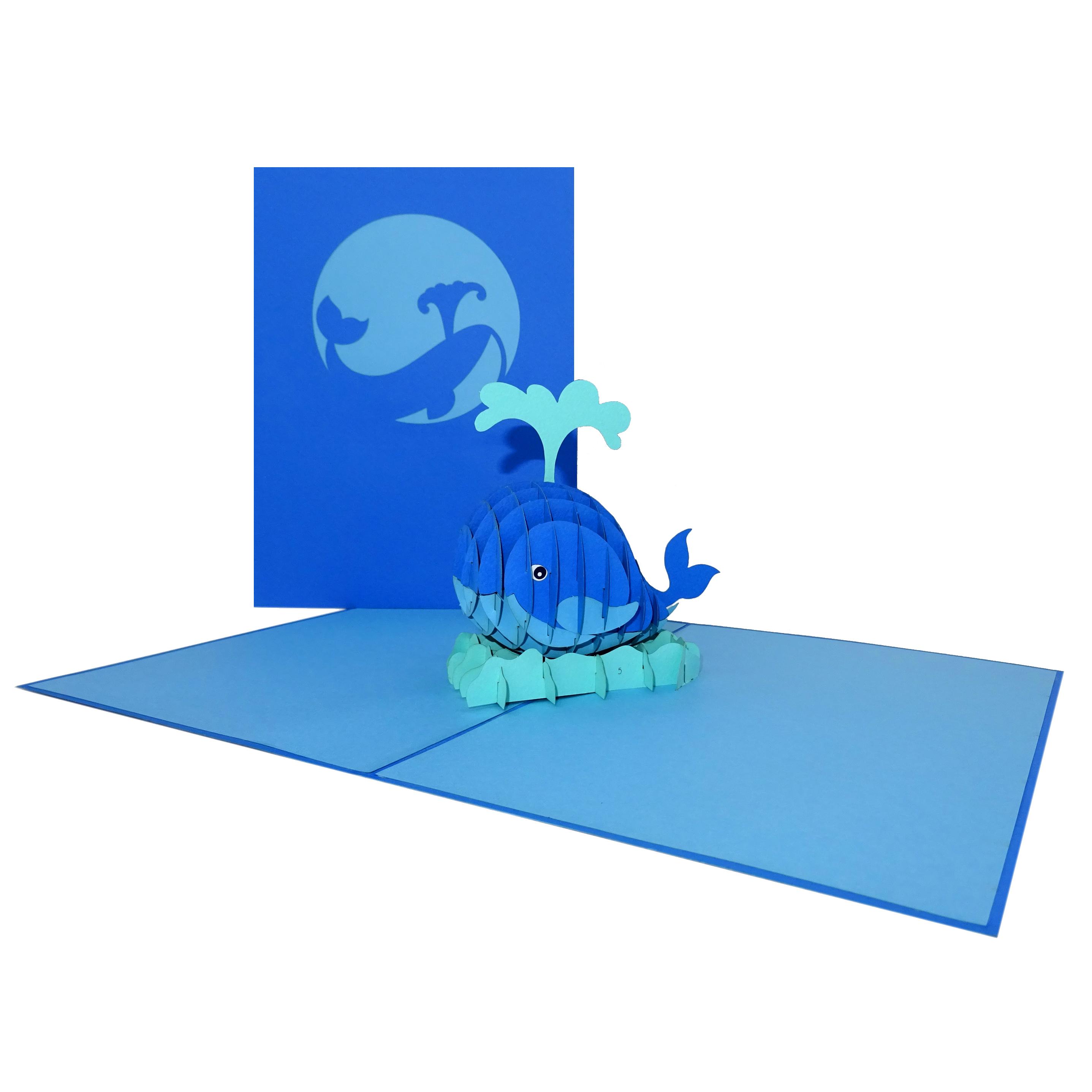 "3D Karte ""Wal - König der Meere"" - Einladungskarte, Geburstagskarte"