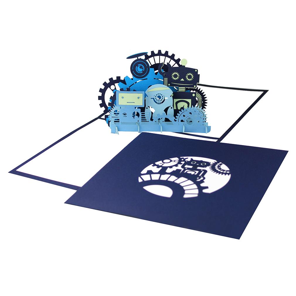 """Pop Up Karte """"Roboter"""" - Geburtstagskarte mit Umschlag, Glückwunschkarte"""
