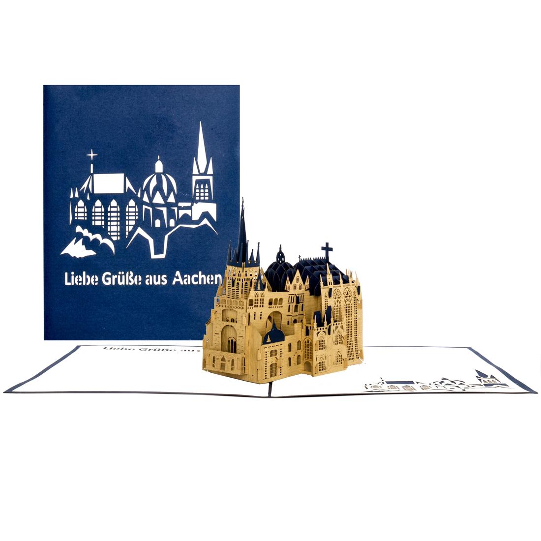 """Pop-Up Karte Aachener Dom """"Liebe Grüße aus Aachen"""" Blau"""