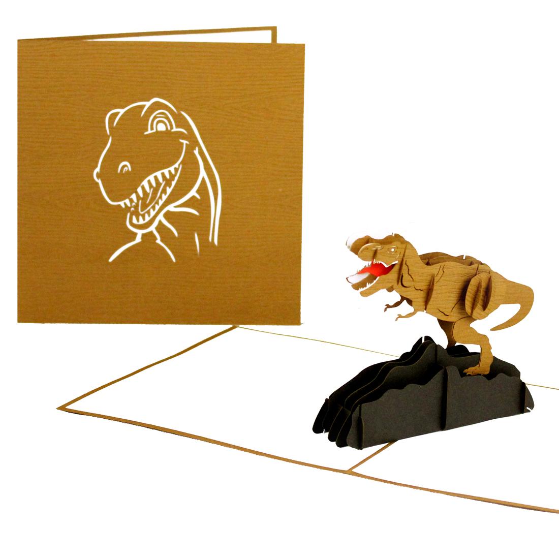 """Pop Up Karte """"Tyrannosaurus Rex"""" - Einaldungkarten zum Kindergeburtstag"""