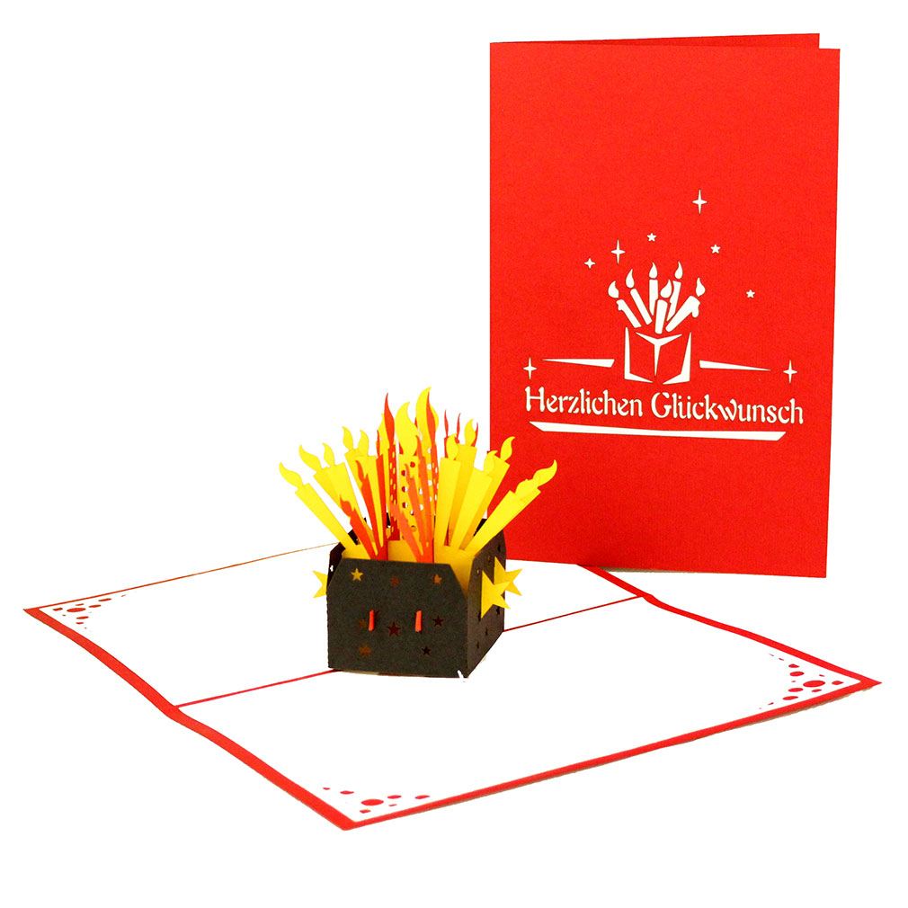 """3D Pop Up Geburtstagkarte """"Herzlichen Glückwunsch"""" Rot"""