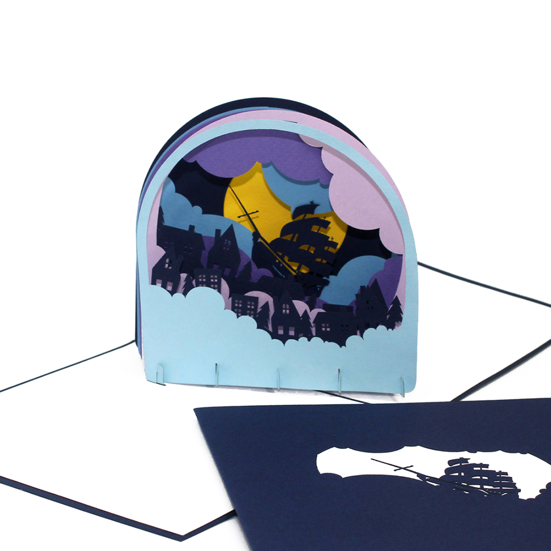 "3D Karte ""Segelschiff Jolly Roger"" - Geburtstagskarte, Glückwunschkarte"