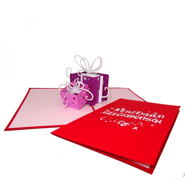 "Pop Up Glückwunschkarte ""Geschenke"" zum Geburtstag - Geburtstagskarte, Grußkarte"