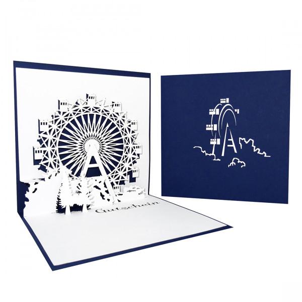 """Gutschein-Karte """"Riesenrad"""" Blau"""