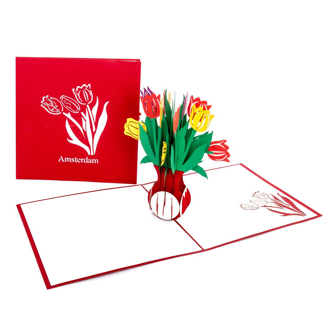 """3D Karte """"Bunte Tulpen aus Amsterdam"""" - Geburtstagskarte mit Umschlag"""