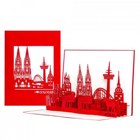 Köln Panorama - Rot & Weiss