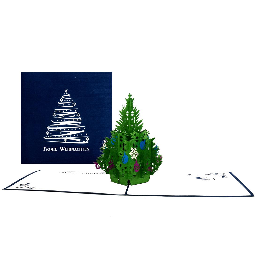 """Pop Up Karte """"Christbaum"""" - Weihnachtskarte mit Umschlag und Text """"Frohe Weihnachten"""""""