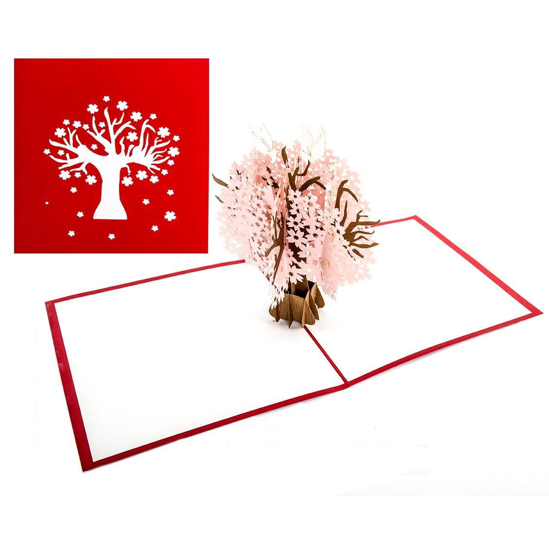 """Pop Up Karte """"Kirschbaum"""" - Glückwunschkarte zur Hochzeit, Hochzeitskarte mit Umschlag"""