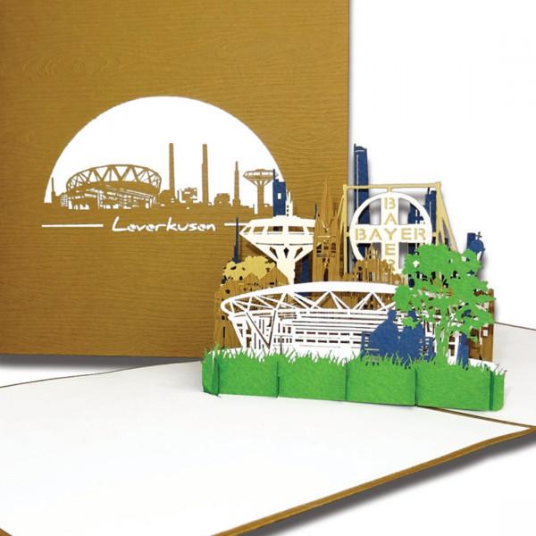 """Pop-Up Karte """"Leverkusen – Skyline"""", 3D Grußkarte als Einladung oder als Geburtstagskarte"""