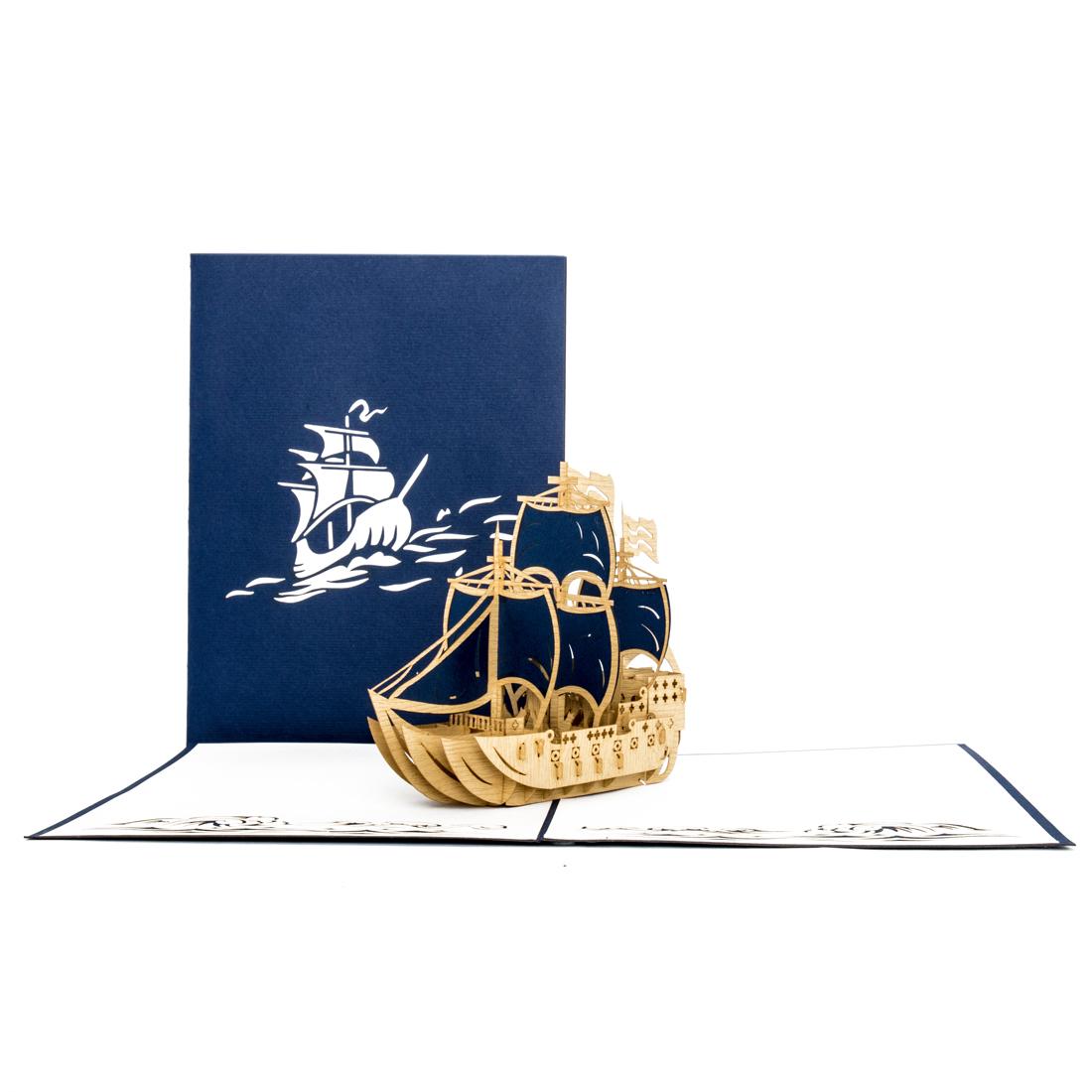 """Pop Up Karte """"Schiff - Dreimaster"""" - Urlaubsgutschein, Grußkarte mit Umschlag"""