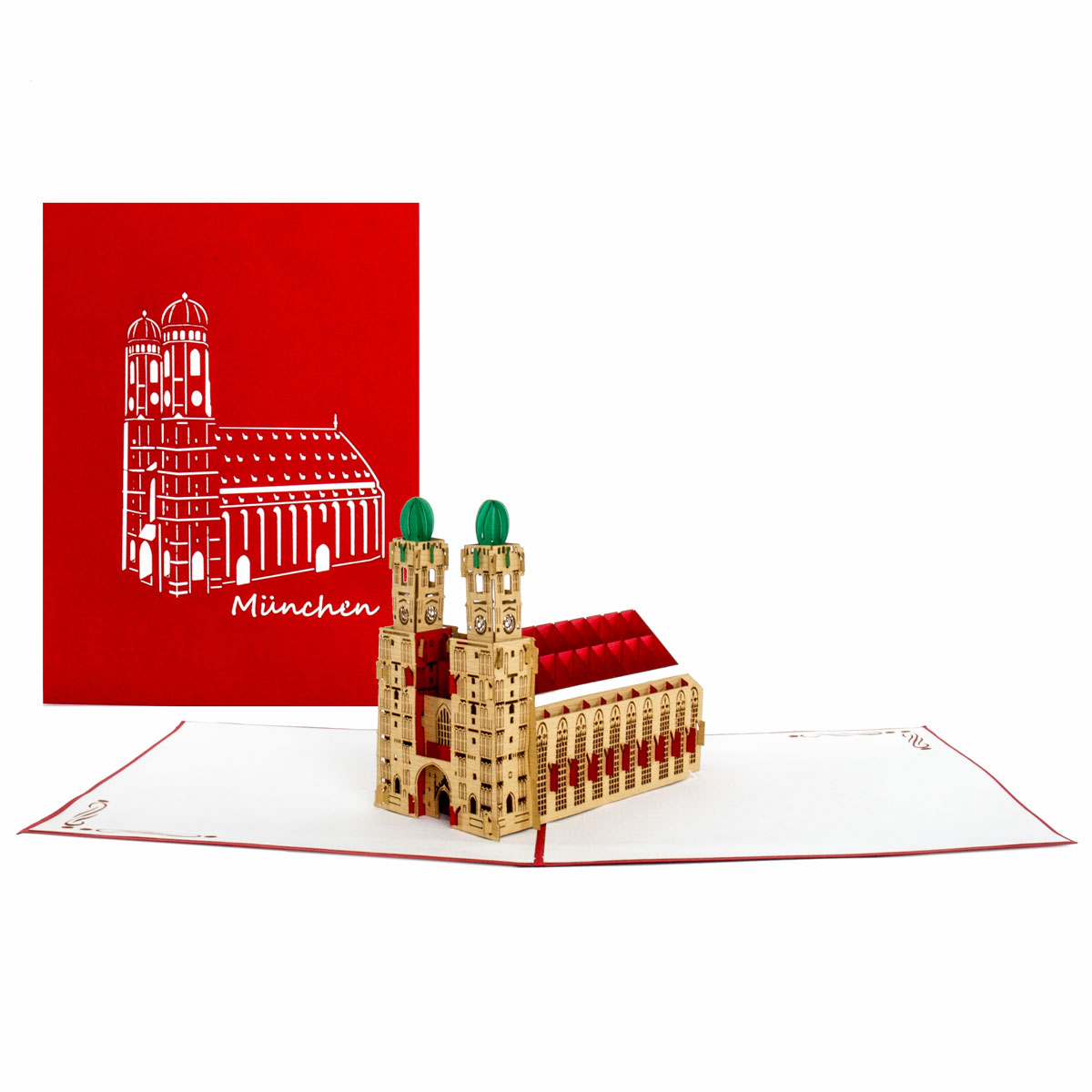 """3D Pop Up Karte """"München - Frauenkirche"""" z.B. als Souvenir Grußkarte"""