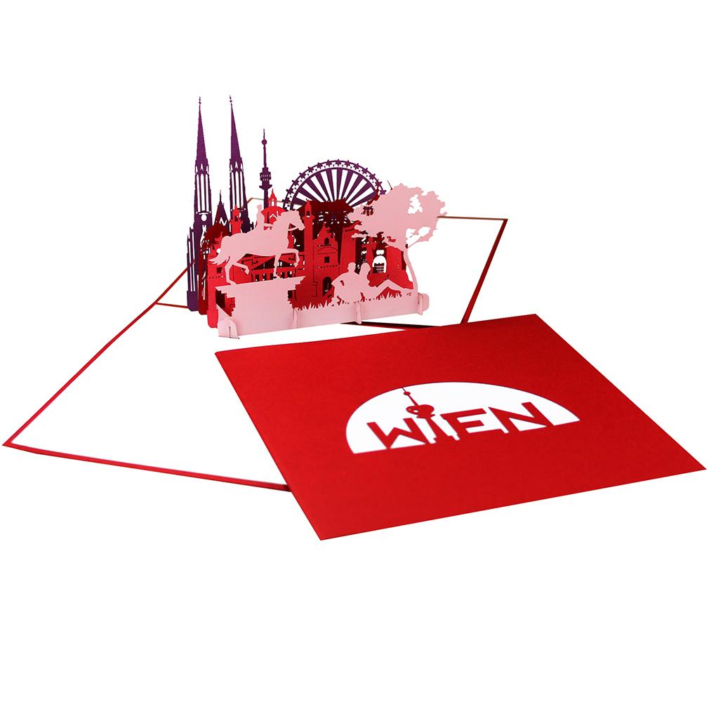 """Pop Up Karte """"Wien"""" - Grußkarte, 3D Postkarten Souvenir, Glückwunschkarte"""