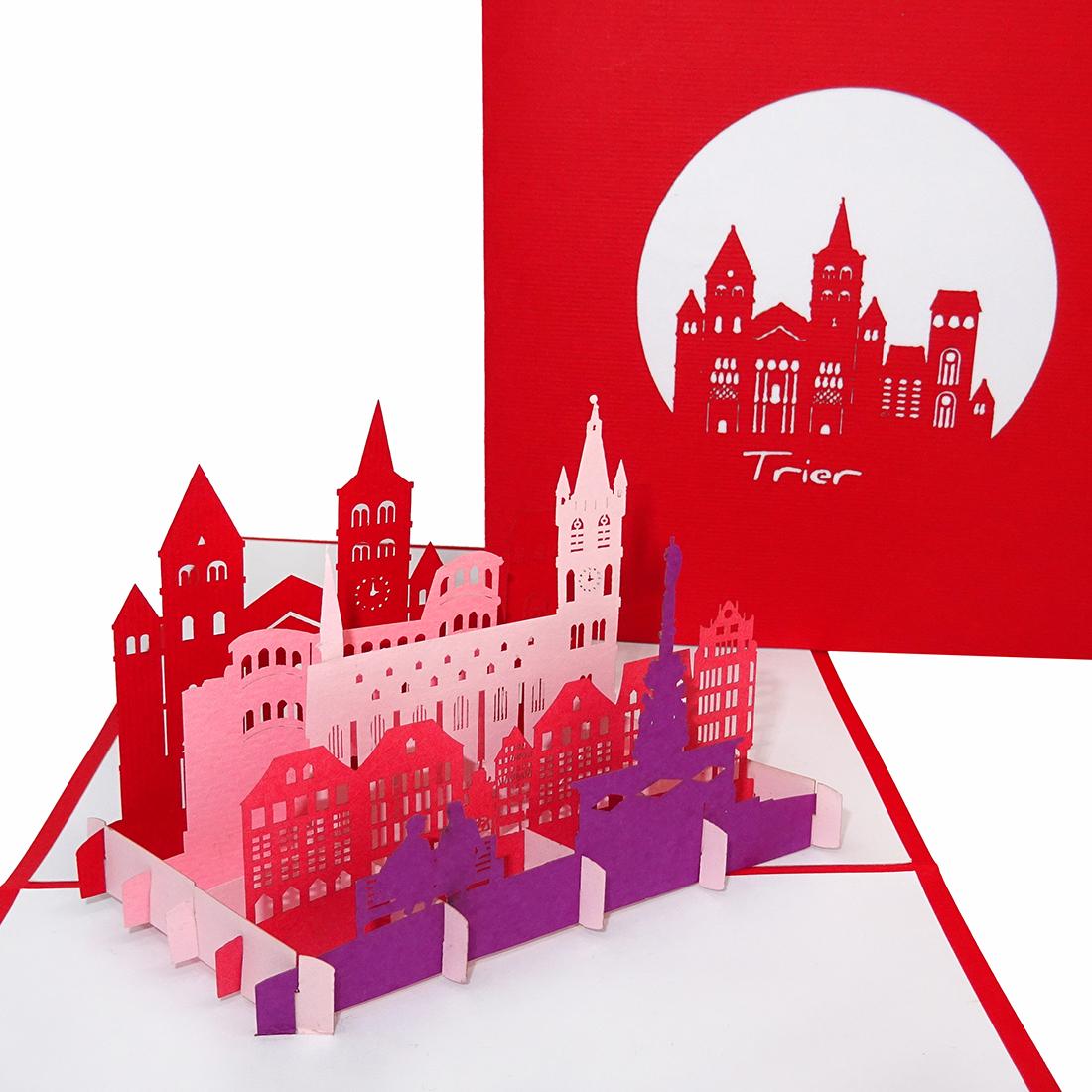 """Pop Up Karte """"Trier"""" - Einladung zum Städtetrip, Grusskarte"""
