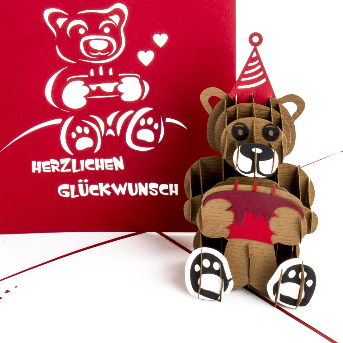 Teddybär & Torte - Rot