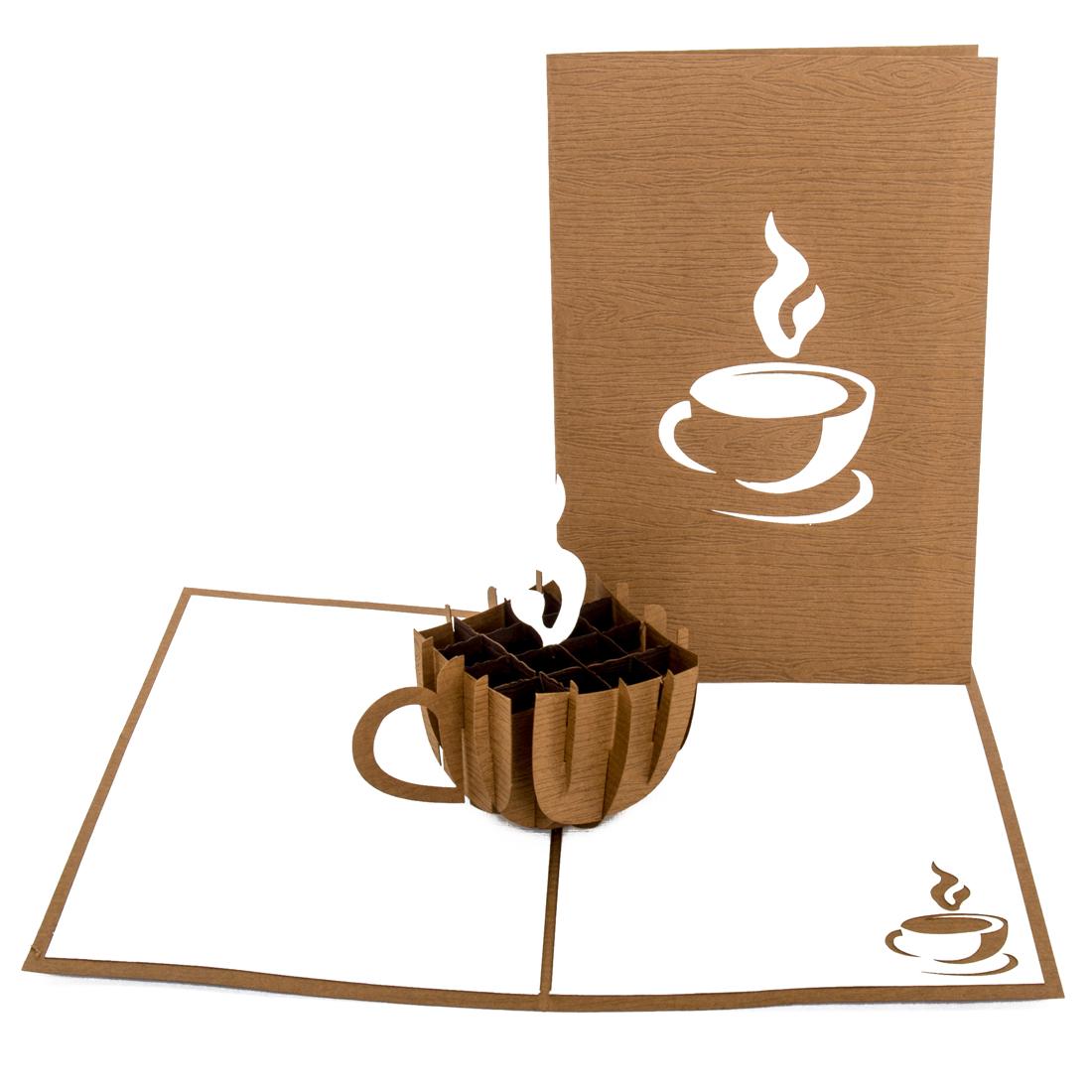 """Pop Up Karte """"Coffee Cup"""" - Einladung zu Kaffee & Kuchen, Gutschein"""