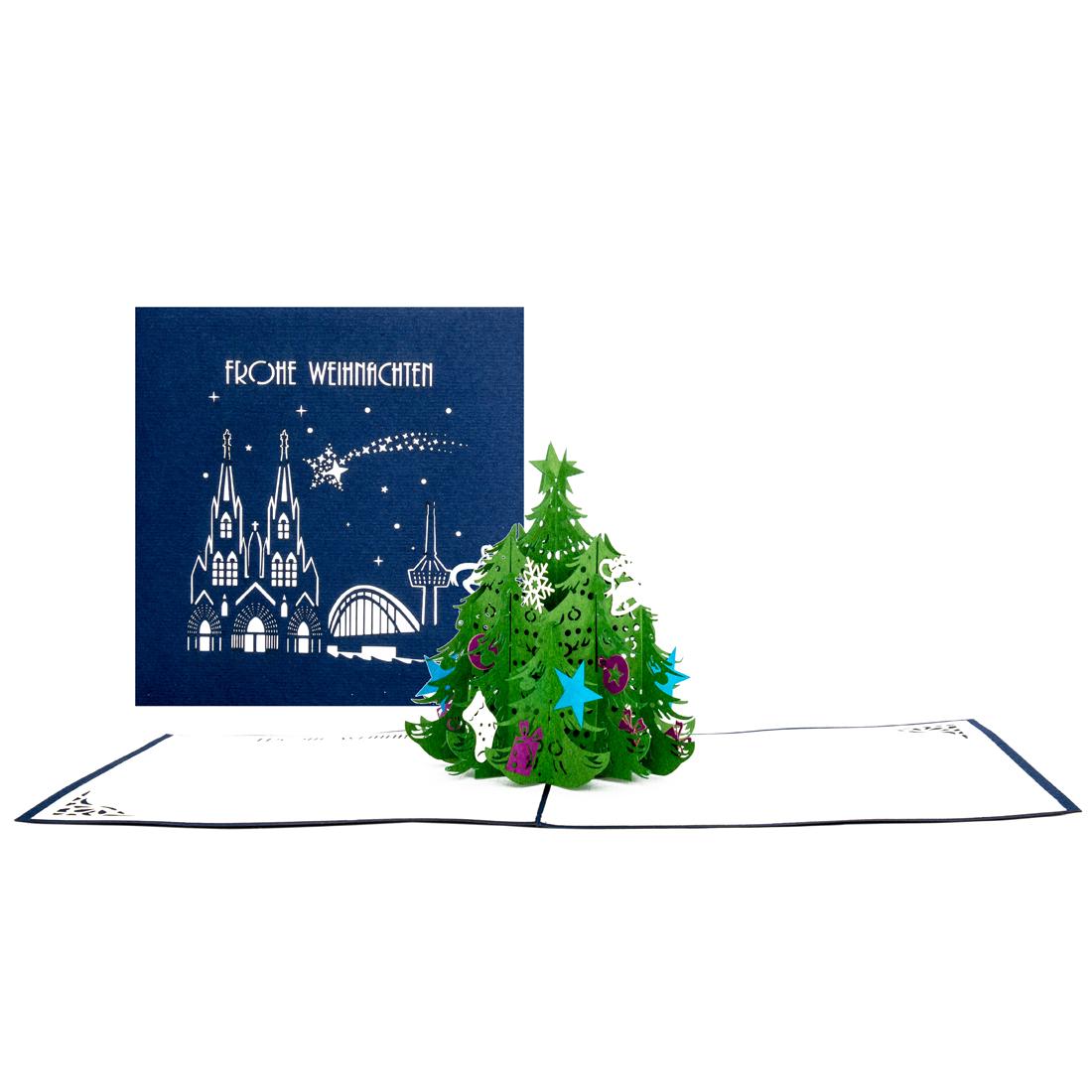 """3D Karte mit Köln-Motiv """"Frohe Weihnachten"""" - Weihnachtskarte mit Umschlag"""