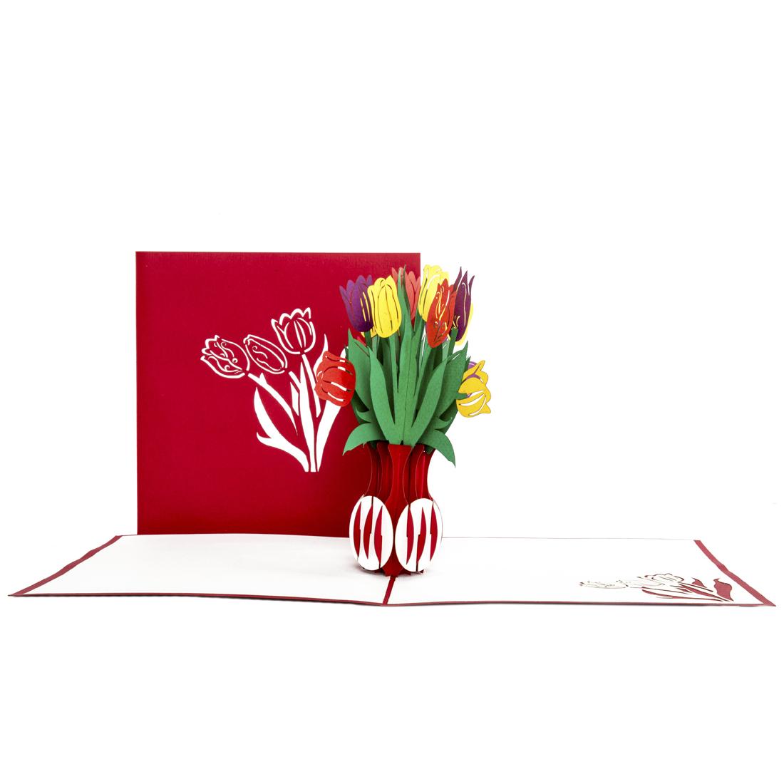 "Pop Up Karte ""Tulpen"" - Glückwunschkarte, Danksagung zum Geburtstag"