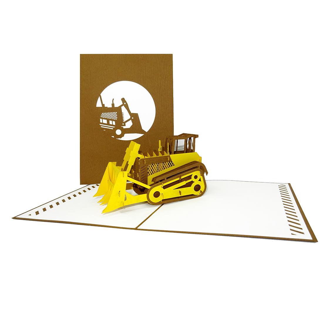 """Pop Up Karte """"Planierraupe"""" - Geburtstagskarte, Gutscheinkarte"""