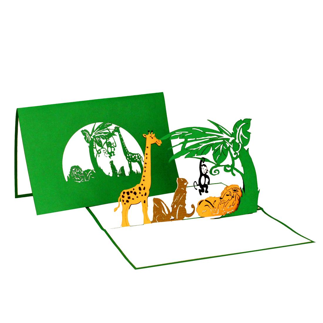 """Pop Up Karte """"Ausflug in den Zoo"""" - Gutschein, Einladungskarte, Geburtstagskarte"""
