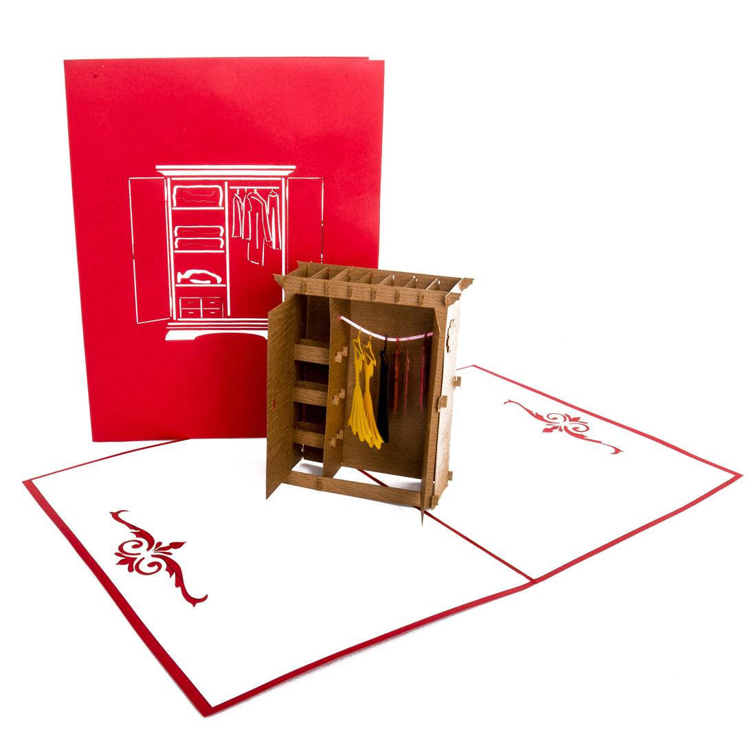 """Pop Up Karte """"Kleiderschrank"""" - Gutschein für Möbel und Einrichtung"""