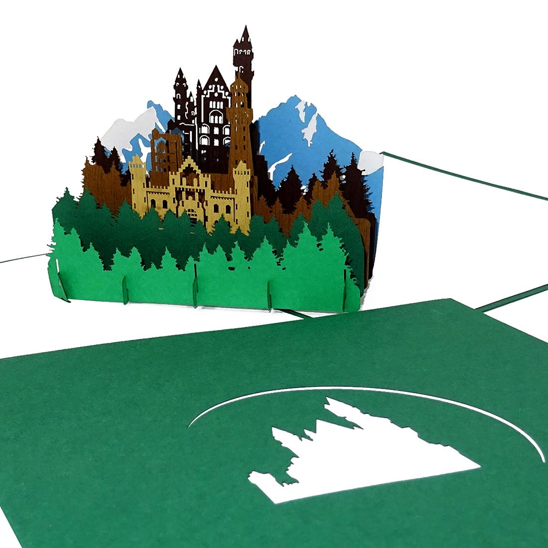 "Pop Up Karte ""Bergpanorama & Schloss - Souvenir, Geburtstagskarte. Grusskarte"