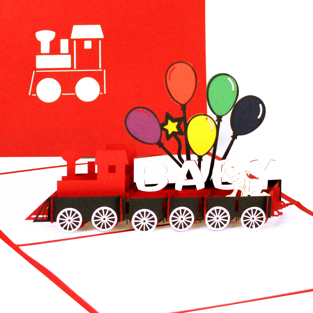 """Pop Up Geburtskarte """"Baby Eisenbahn"""" - Glückwünsche zur Geburt"""